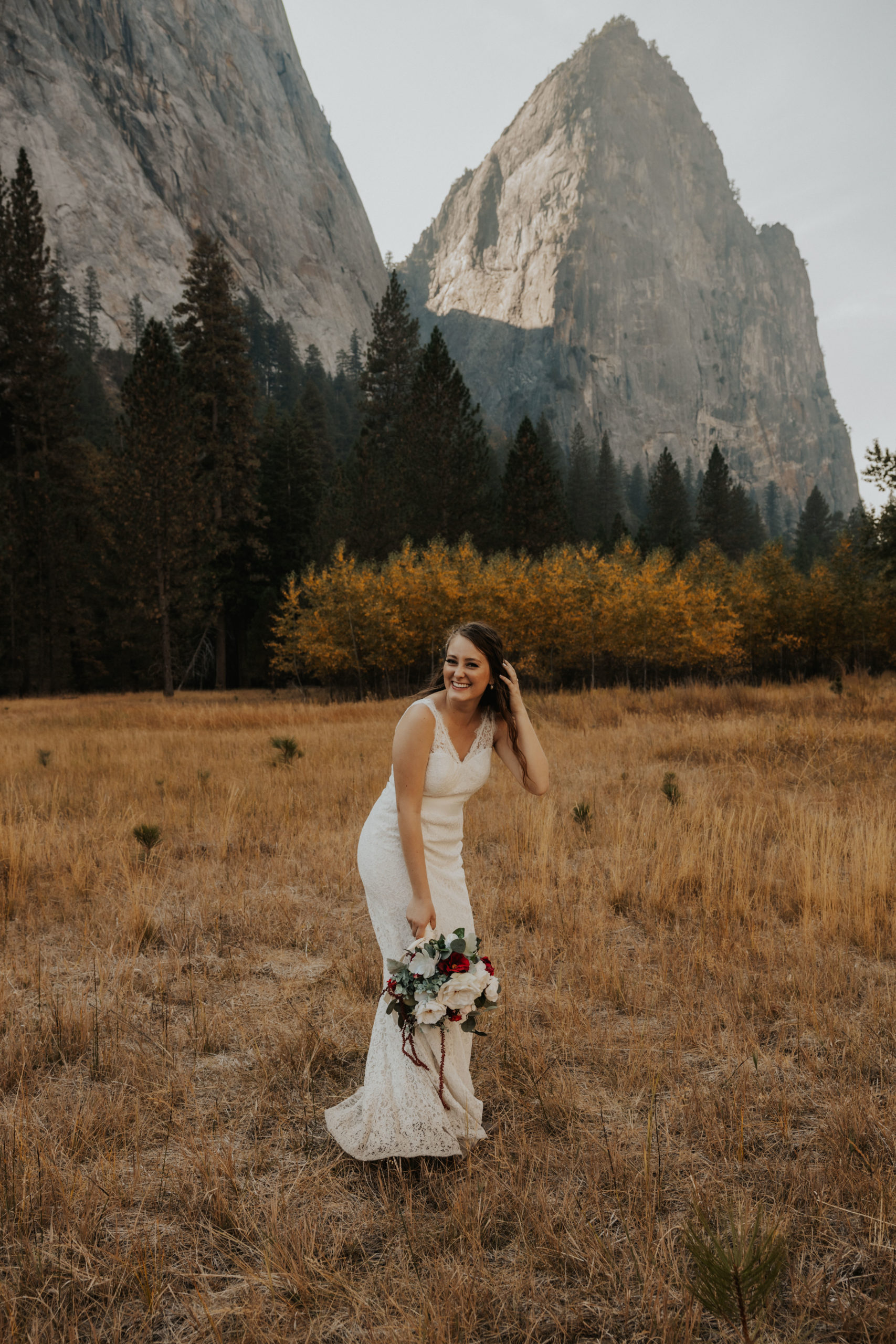 bride standing in yosemite national park